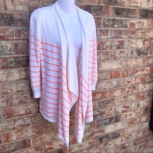 {ANN TAYLOR} Draped Open Front Striped Cardigan